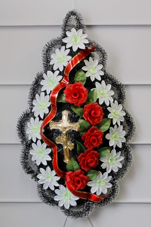 Венок ритуальный из искусственных цветов фото